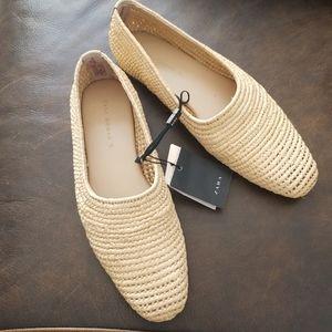 Zara handmade slide on straw loafer